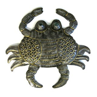 Handcrafted Recycled Steel Drum Painted Crab with Marble Eyes Art (Haiti)