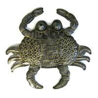Handmade Recycled Steel Drum Painted Crab with Marble Eyes Art (Haiti)