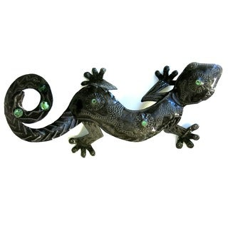 Handmade Recycled Steel Drum 3 D Gecko with Marbles Wall Art (Haiti)