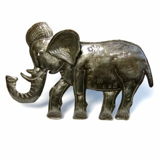 Handcrafted Recycled Steel Drum Standing 3 D Elephant Art (Haiti)