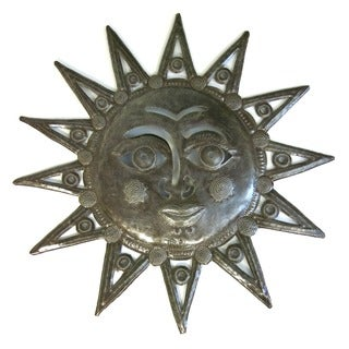 Handcrafted Recycled Steel Drum Sun Face Wall Art (Haiti)