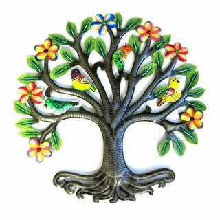 Handcrafted Recycled Steel Drum Painted Floral Tree Wall Art (Haiti)