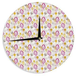 KESS InHouse Julie Hamilton 'Mulberry' Pink Yellow Wall Clock
