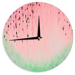 KESS InHouseEbi Emporium 'Mystic Garden 4' Pink Green Wall Clock