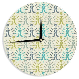 KESS InHouse Julia Grifol 'My Leaves' Teal Green Wall Clock