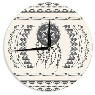 KESS InHouseFamenxt 'Bohemian Dream Catcher Boho' Black Beige Wall Clock