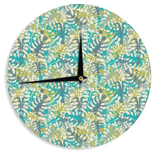 KESS InHouse Julia Grifol 'Tropical Leaves' Wall Clock