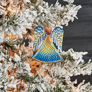 Handcrafted Recycled Steel Drum Painted Angel Ornament Art (Haiti)