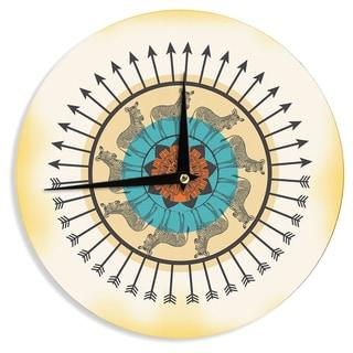 KESS InHouseFamenxt 'Colorful Peacock' White GreenWall Clock