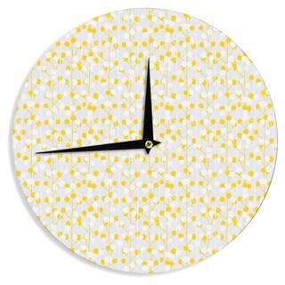 KESS InHouse Julie Hamilton 'Lemon Drop' Yellow Gray Wall Clock