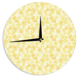 KESS InHouse Julie Hamilton 'Paper Daisy' Yellow Wall Clock
