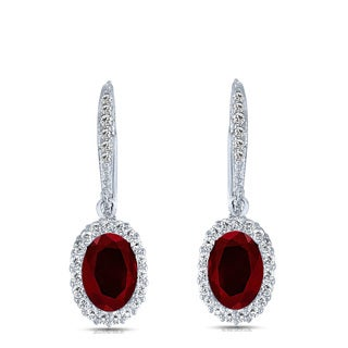 Collette Z C.Z. SS Rhodium Plated Ruby Oval Shape Drop Earrings