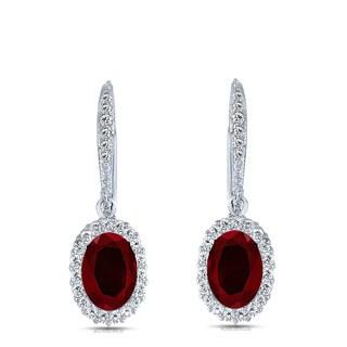 Collette Z C.Z. SS Rhodium Plated Ruby Oval Shape Drop Earrings - Red