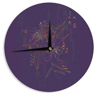 KESS InHouse Karina Edde 'Hibiscus' Purple Abstract Wall Clock