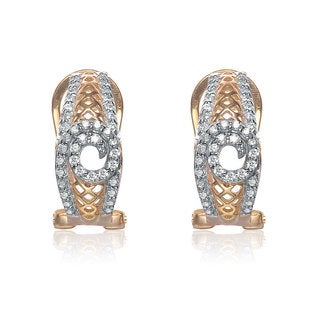 Collette Z Sterling Silver Gold Plated Cubic Zirconia Peep-hole Earrings