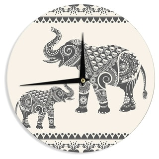 KESS InHouseFamenxt 'Ornate Indian Elephant-Boho' Black Beige Wall Clock