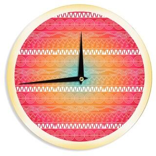 KESS InHouseFamenxt 'Romantic Pattern' Red Abstract Wall Clock
