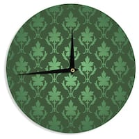 KESS InHouse KESS Original 'Emerald Damask' Green Pattern Wall Clock