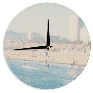 KESS InHouse Laura Evans 'Santa Monica Beach' Brown Blue Wall Clock