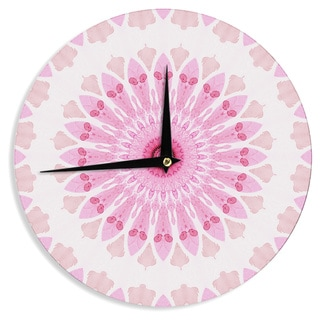 KESS InHouseIris Lehnhardt 'Flower Power' Pink Abstract Wall Clock