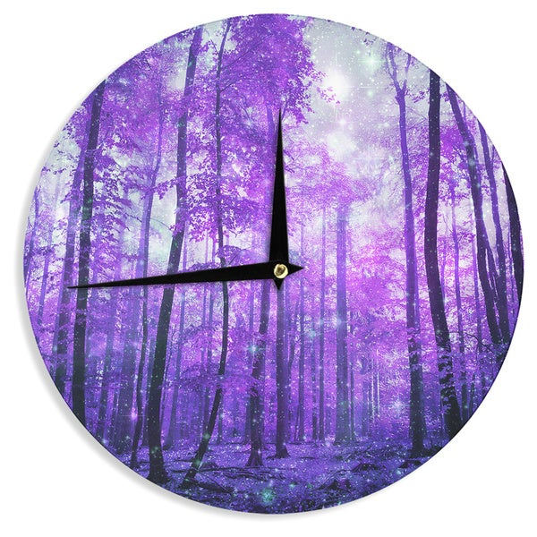 KESS InHouseIris Lehnhardt 'Magic Woods' Purple Forest Wall Clock