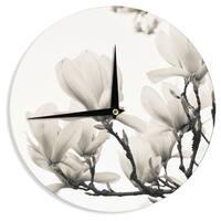 KESS InHouseIris Lehnhardt 'Magnolia Blossoms' White Floral Wall Clock