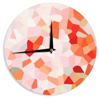 KESS InHouseIris Lehnhardt 'Oooh La La' Orange Pixel Wall Clock