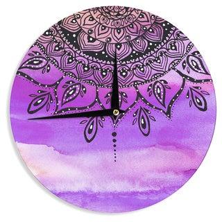 KESS InHouse Li Zamperini 'Lilac Mandala' Lavender Purple Wall Clock