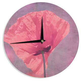 KESS InHouseIris Lehnhardt 'Poppy' Pink Flower Wall Clock