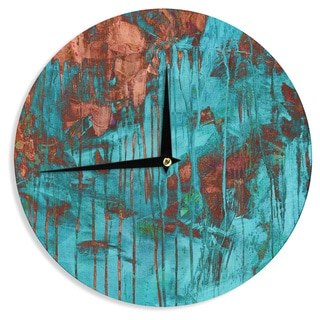 KESS InHouseIris Lehnhardt 'Rusty Teal' Paint Teal Wall Clock