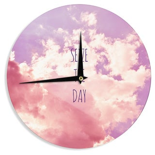 KESS InHouseIris Lehnhardt 'Seize the Day' Pink Purple Wall Clock