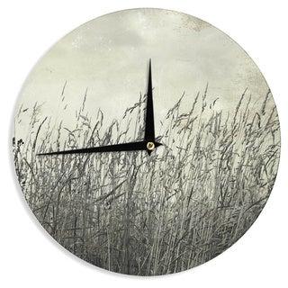 KESS InHouseIris Lehnhardt 'Summer Grasses' Neutral Gray Wall Clock
