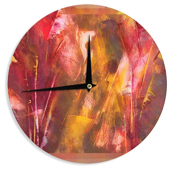 KESS InHouse Malia Shields 'Warmth' Orange Red Wall Clock