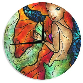 KESS InHouse Mandie Manzano 'Ariel' Mermaid Wall Clock