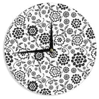 KESS InHouse Nicole Ketchum 'Cherry Floral White' Wall Clock