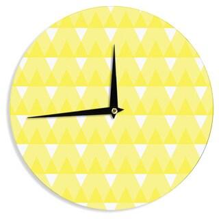 KESS InHouseJackie Rose 'Yellow Triangles' Custard White Wall Clock