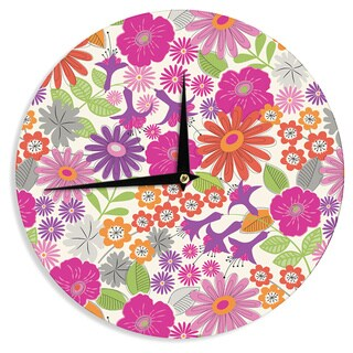 KESS InHouseJacqueline Milton 'Lula - Tropical' Pink White Wall Clock