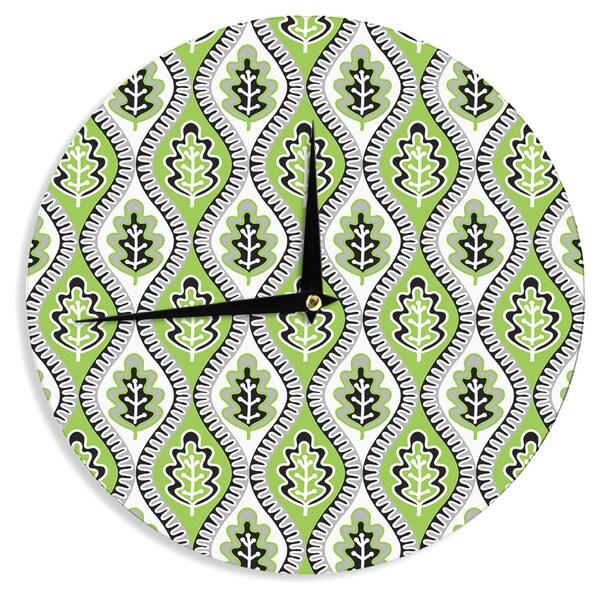 "KESS InHouseJacqueline Milton 'Oak Leaf - Lime' Green Floral Wall Clock - 12"""