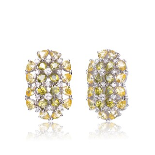 Collette Z C.Z. Sterling Silver Rhodium Plated Lemon And Peridot Cluster Earrings