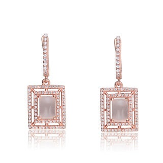 Collette Z C.Z. Sterling Silver Rose Plated White Opal Rectangle Earrings