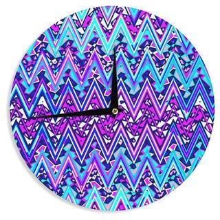 KESS InHouse Nika Martinez 'Blue Electric Chevron' Wall Clock