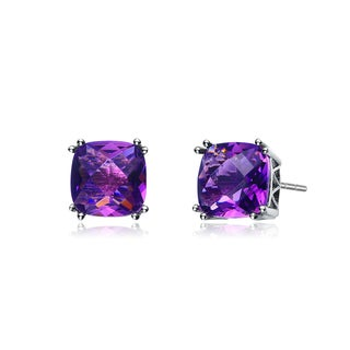 Collette Z C.Z. Sterling Silver Rhodium Plated Amethyst Square Earrings