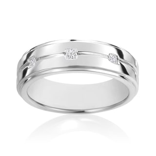 SummerRose, 14k White Gold Diamond Men's Ring 1/7ct TDW
