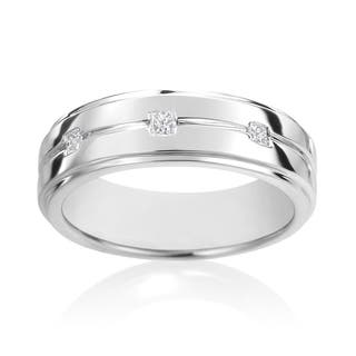 SummerRose, 14k White Gold Diamond Men's Ring 1/7ct TDW|https://ak1.ostkcdn.com/images/products/12447772/P19262136.jpg?impolicy=medium