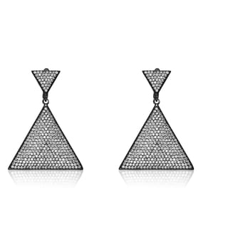 Collette Z Sterling Silver Cubic Zirconia Encrusted Triangle Earrings