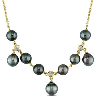 Miadora Signature Collection 14k Yellow Gold Black Tahitian Pearl and 1/3ct TDW Diamond Necklace (G-I, SI1-SI2) (8.5-10mm)