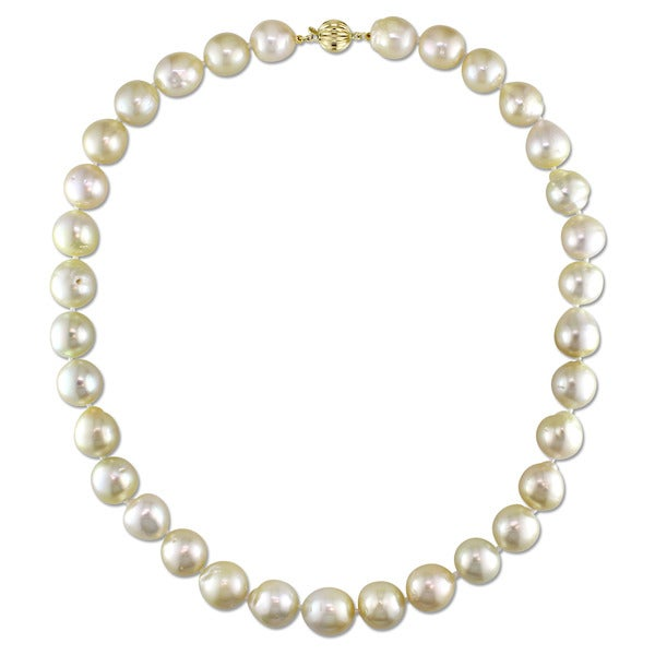 """11-12 mm Natural round south sea golden pearl necklace 18/""""14K Gold"""