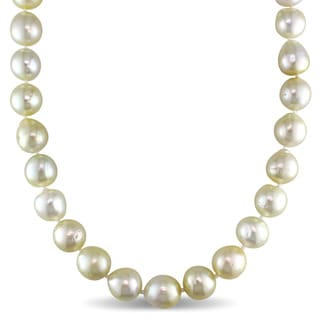 Miadora Signature Collection 14k Yellow Gold Natural Shape South Sea Graduated Golden Pearl Strand Necklace (10-12mm)