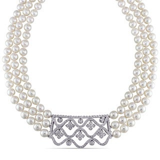Miadora Signature Collection 14k White Gold Akoya Pearl and 1 3/8ct TDW Diamond Three Strand Necklace (I-J, I1-I2) (6.5-7mm)