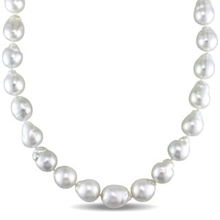Miadora Signature Collection 14k White Gold South Sea Natural Shape Graduated Pearl and Diamond Accent Necklace (10-13mm)